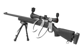 Rifle sniper firearm gun with bipod. 3D graphic