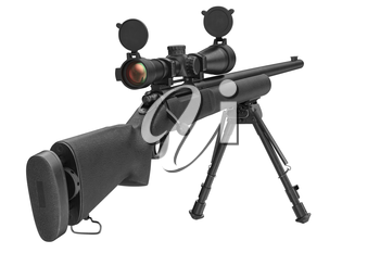 Rifle sniper steel shotgun with optical scope. 3D graphic