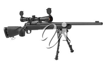 Rifle sniper military with optical scope. 3D graphic