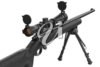 Rifle sniper modern metal optical gun, close view. 3D graphic
