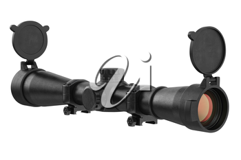Scope optical military device with glass lens. 3D rendering