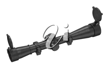 Scope optical sniper aiming device. 3D rendering