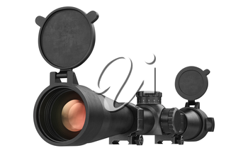 Scope optical lens glass aiming. 3D rendering