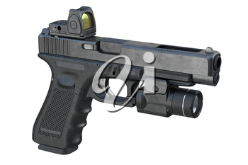 Gun weapon flashlight shooting device. 3D rendering