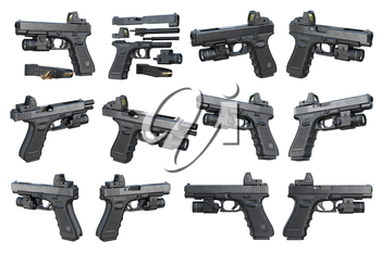 Gun weapon black military pistol with flashlight and scope set. 3D rendering