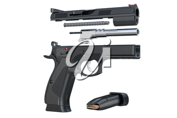 Gun weapon handgun military defense disassembled. 3D rendering