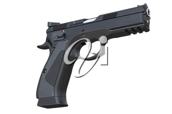 Gun weapon black security equipment. 3D rendering