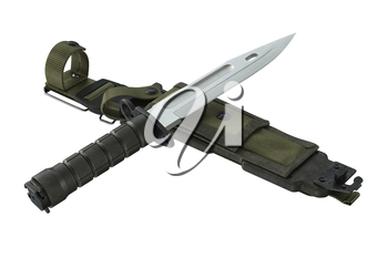Knife army green combat weapon. 3D rendering