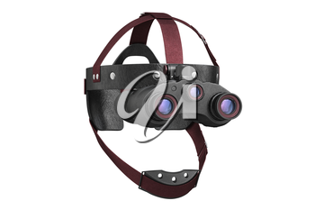 Night vision tactical goggles binoculars with lens. 3D rendering