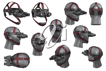 Night vision device black optical set. 3D rendering