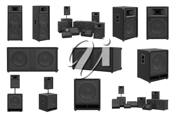 Speakers audio loud system modern black sound system set. 3D rendering