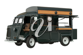Food car green eatery with open doors. 3D rendering