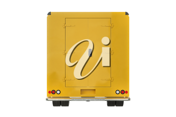 Food truck yellow cafe on wheels, back view. 3D rendering