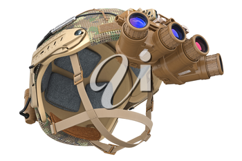 Helmet vision device military outfit. 3D rendering