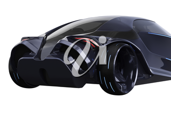 Car concept futuristic vehicle shiny metal, close view. 3D rendering
