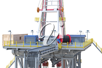 Land rig metal tower oil drilling, close view. 3D rendering