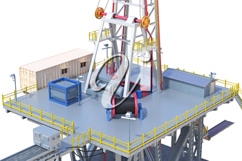 Rig steel platform drilling well, close view. 3D rendering