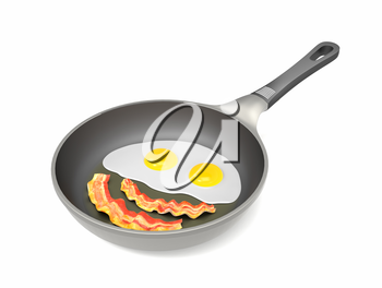 Fried eggs and bacon on the pan isolated on white background