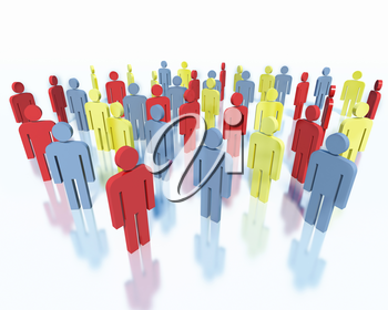 Crowd of colorful people, concept of business team