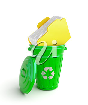 Green garbage bin with folder with papers isolated on white