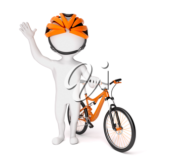 3d little man in helmet standing near the bike over white