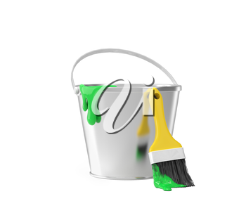 Bucket with green paint and brush over white background
