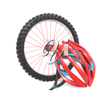 Biking wheel and a red helmet isolated over white background