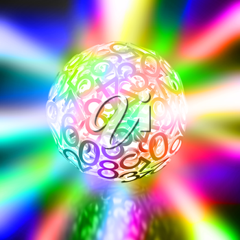 Random numbers forming a sphere on multicolored shining background