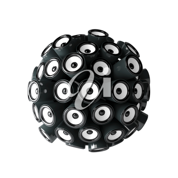 Loudspeakers forming a sphere isolated on white