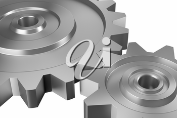 industrial and business processing and working concept: two steel interlocking cogwheels on downward diagonal over isolated white background