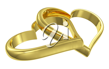 Couple of chained golden hearts isolated on white background diagonal view, wedding symbol
