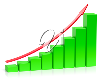 Abstract creative statistics, financial growth, business success and development concept: green growing bar chart with red arrow on white background with reflection, 3d illustration