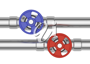 Plumbing pipeline with hot water and cold water pipes water supply system industrial construction: blue valve and red valve on two steel pipes isolated on white background, industrial 3D illustration,