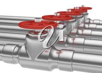 Abstract creative plumbing or gas pipeline industrial concept: steel pipes series with red valves and selective focus effect, focuse on valve, shallow depth of field, industrial 3D illustration