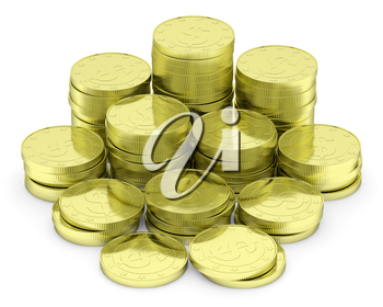 Business finance, financial success and wealth abstract creative concept: heap of gold dollar coins towers arranged in golden stack with small shadows isolated on white background