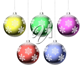 Christmas balls with snowflakes hanging on strings set isolated on white background