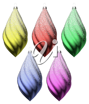 Colorful christmas decoration set isolated on white background