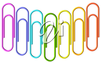 Colored paperclips laid out in the shape of wave, clips set isolated on white background