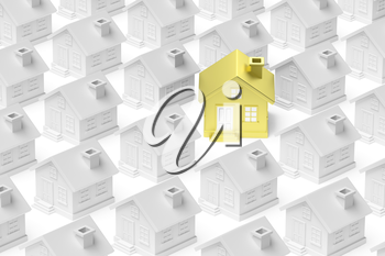 Uniqueness, individuality, real estate business creative concept - golden unique house standing out from crowd of gray ordinary houses and look at you 3d illustration