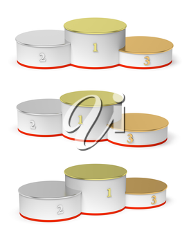 Sports winning and championship and competition success symbol - round sports pedestal, white winners podium with empty golden first, silver second and bronze third places, isolated on white, 3d illus