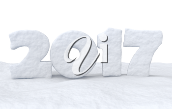 Happy New Year creative holiday background - 2017 new year sign text written with numbers made of snow on snow surface, Happy New Year 2017 winter snow symbol 3d illustration isolated on white