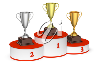 Sports winning, competition and championship success concept - golden, silver and bronze winners trophy cups on round sports pedestal, white winners podium with red stairs, 3d illustration