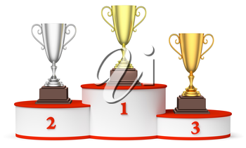 Sports winning and championship and competition success concept - golden, silver and bronze winners trophy cups on the round sports pedestal, white winners podium with red stairs 3d illustration.