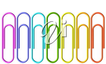 Colored paperclips collection isolated on white background