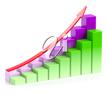 Abstract creative statistics, financial growth, business success and development concept: colorful growing bar chart in two rows with red up arrow on white background with reflection, 3d illustration