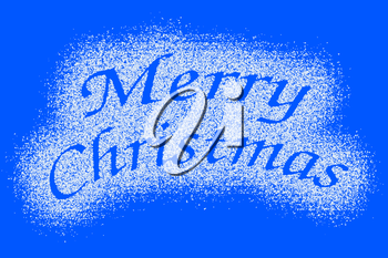 Snow mark of Merry Christmas sign isolated on blue background