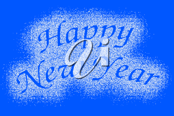 Snow mark of Happy New Year sign isolated on blue background