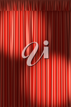 Red theater curtain with gathers under two round spot lights