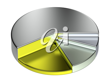 Abstract creative business statistics, financial analysis, precious metal trading concept: growing metallic 3D pie chart on white background