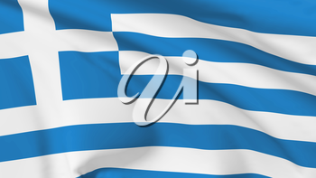 National flag of Greece flying in the wind, 3d illustration closeup view